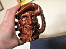 VINTAGE TOBY JUG BEARDED GENT WITH FEATHER PLUME HAT HANDLE DARK TREACLE GLAZE